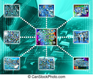 images - Many abstract images on the theme of computers,...