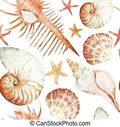 Corals with shells and crabs - Beautiful watercolor vector...