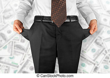 man showing empty pockets - bankrupt business man showing...