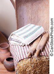 Vintage household items and homespun cloth - Vintage...
