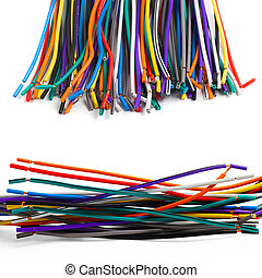set colored wires isolated white background - set colored...