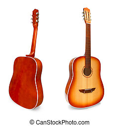 set acoustic classical guitar isolated white