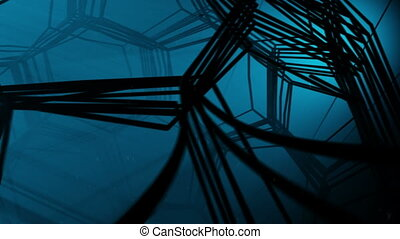 Underwater fantasy tunnel made of abstract cells and wire...