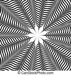 Op Art Flower - An op art floral pattern is featured in an...