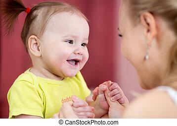 母,  -, 幸福, 彼女, 子供