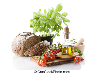 橄欖, 蔬菜, 油,  bread, 藥草