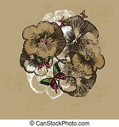Vintage floral background with pansies. Vector illustration.