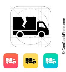 Damaged truck icon Vector illustration