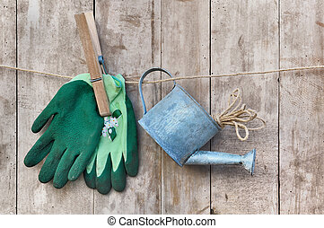 gloves and watering can