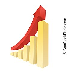 Bar Graph - Bar graph vector showing an upward trend....