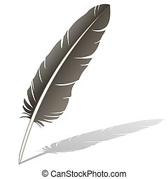 Brown Feather Quill Pen - Realistic vector illustration of a...