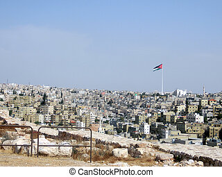 Amman the capital of Jordan and the houses and buildings and...