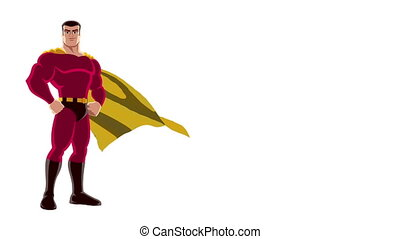 Superhero Isolated - Looping animation of posing superhero...