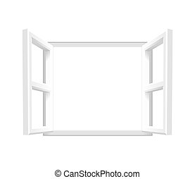 Plain White Open Window - Vector illustration of an open...