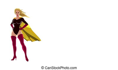 Superheroine Isolated - Looping animation of posing...