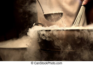 dense steam over cooking pot