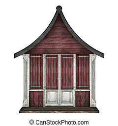 Beach Hut - 3D digital render of a beach hut isolated on...