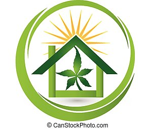 House leaf cannabis plant logo - House store - sun with...