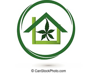 Leaf cannabis plant store logo - House store - sun with...