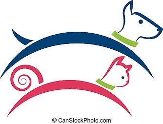 Cat and dog logo - Pets jumping colorful icon identity...
