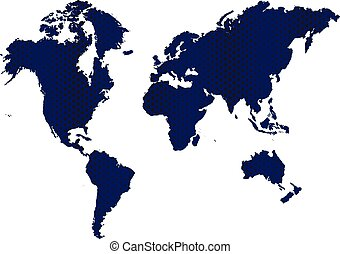 Blue Dark Map World background - Blue Dark Map World Vector...
