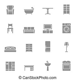 Silhouette home furniture icons set