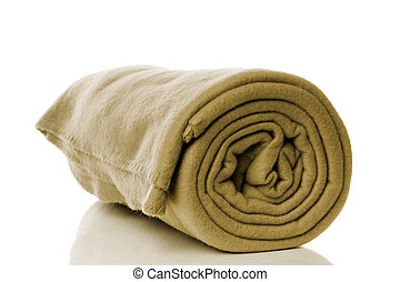 fleece blanket in khaki or olive green color