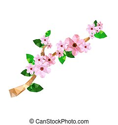 Illustration of origami branch with pink cherry blossom...