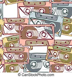 Illustration of seamless pattern with vintage audio cassette