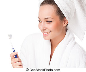 Brunette cosmetics beauty - Portrait of a young brunette...