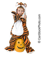 Adorable toddler in tiger costume