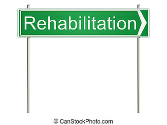 Rehabilitation Traffic sign on a white background Raster