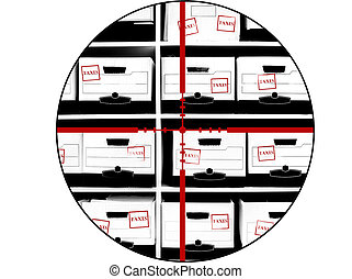 Boxes of Tax Documents with Crosshairs