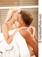 Sexual intercourse - Hot caucasian couple during sexual...