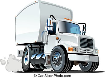 Cartoon delivery cargo truck isolated on white background...