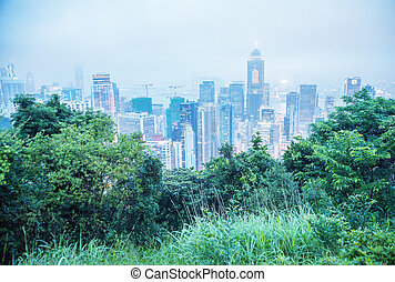 Stunning aerial view of Hong Kong skyline from Victoria Park
