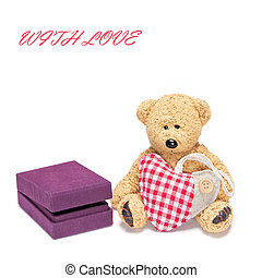 Cute teddy bear with a heart and gift box for jewelry - Cute...