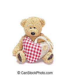 Charming teddy bear with fabric heart - Charming teddy bear...