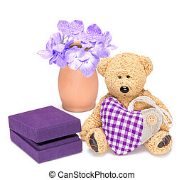 Charming teddy bear with fabric heart and gift box for...