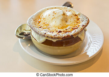 French Onion Soup - French onion soup with crispy gruyere...