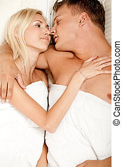 Young couple making out - Pretty lady and handsome man...
