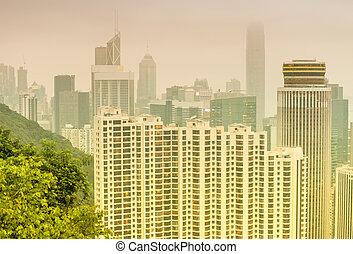Hong Kong aerial skyline