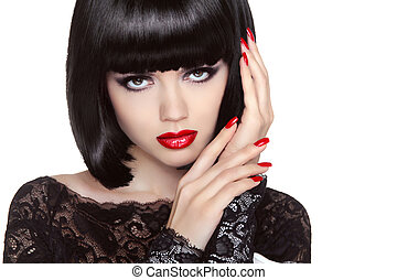 Makeup. Manicured nails. Beauty girl portrait. Red lips. Back sh