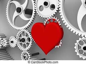 Love is the biggest driving force! - Heart gear rotates,...