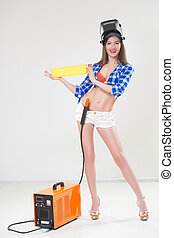 pin-up girl with the welder.