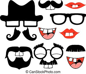 funny black mustaches and lips - set of black mustaches and...