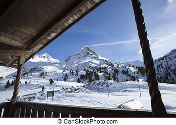 Beautiful view from a ski hut at the border crossing in...