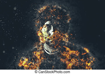 Burning Man - Portrait of urban young adult male in flames,...
