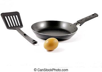 Egg and teflon pan - Kitchen spatula, teflon pan and an egg