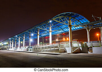 platform on the railway station at night - empty platform on...